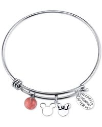 Disney | Red Happily Ever After Cherry Quartz Charm Bracelet In Stainless Steel | Lyst