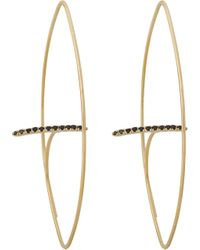 Hirotaka - Metallic Floating Diamond Bar Oval Earring - Lyst