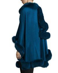 Sofia Cashmere - Blue Fox-fur-trim Cashmere Cape - Lyst