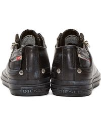 DIESEL - Black Low-top Expo-zip Sneakers for Men - Lyst