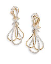 Effy - Metallic Diamond & 14k Yellow Gold Drop Earrings - Lyst