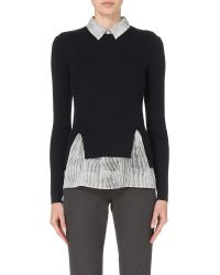 JOSEPH | Black Dual-layer Wool And Silk Jumper - For Women | Lyst