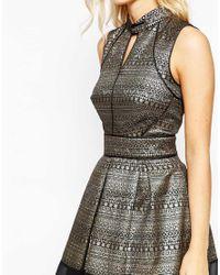 Oasis | Asis Metallic Pattern Skater Dress | Lyst