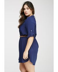 6fa660accd4 Lyst - Forever 21 Plus Size Pintucked Shirt Dress in Blue