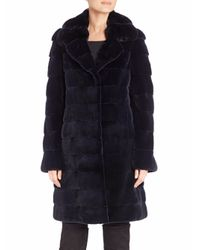 Saks Fifth Avenue - Blue Chinchilla & Mink Fur Coat - Lyst