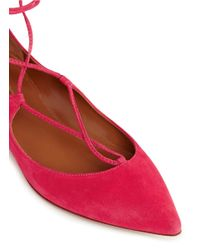Aquazzura - Pink 'christy' Lace-up Suede Flats - Lyst