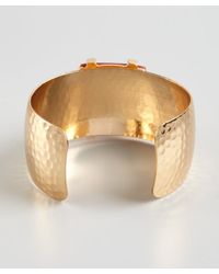R.j. Graziano - Gold Hammered Metal Cuff With Red Stone - Lyst