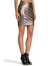 Muubaa | X Revolve Kowie Leather Skirt in Metallic Silver | Lyst