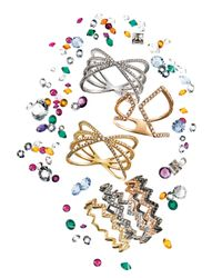 EF Collection - Pink Zigzag Diamond Stackable Ring - Lyst