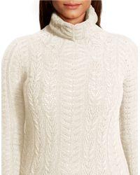 Lauren by Ralph Lauren - Natural Plus Wool-cashmere Turtleneck Sweater - Lyst