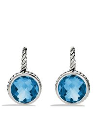 David Yurman | Metallic Color Classics Drop Earrings With Blue Topaz | Lyst