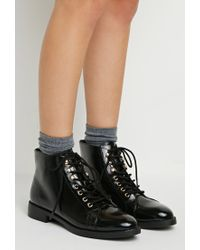 Forever 21 | Black Faux Patent Leather Boots | Lyst