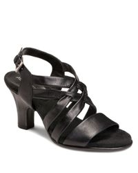 Aerosoles | Black Youle Tide Leather Heeled Sandals | Lyst