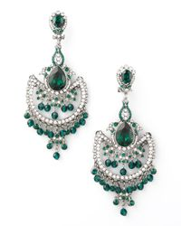 Jose & Maria Barrera | Green & White Crystal Chandelier Earrings | Lyst