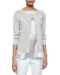 Lafayette 148 New York - White Malak Suede & Metallic Knit Jacket - Lyst