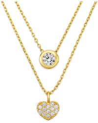 City By City | Metallic Gold-tone Crystal Two-row Pendant Necklace | Lyst