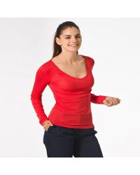 Petit Bateau | Red Women's V-neck Light Cotton Tee | Lyst