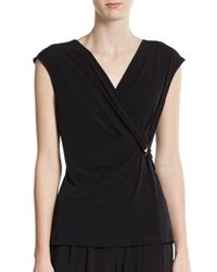 Ivanka Trump | Black Matte Jersey Pleated Surplice Top | Lyst