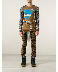 Bernhard Willhelm - Brown Knitted Bird Pullover - Lyst