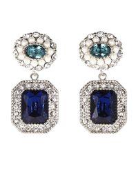 Carolee - Metallic Silvertone Blue Green Crystal Double Drop Earrings - Lyst