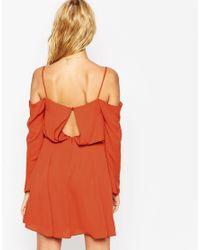 ASOS - Red Cold Shoulder Skater Dress - Lyst