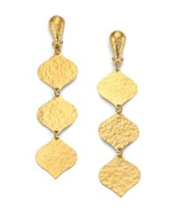 Gurhan | Metallic Clove 24k Yellow Gold Triple-drop Earrings | Lyst
