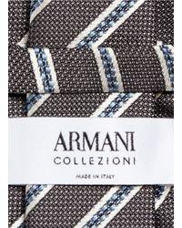 Armani | Gray Diagonal Regimental Stripe Silk Tie for Men | Lyst