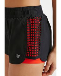 Forever 21 - Black Active Laser Cut Running Shorts - Lyst