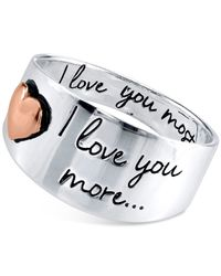 Macy's | Metallic Engraved Love You Ring In Sterling Silver And Rose Gold-flashed Sterling Silver | Lyst