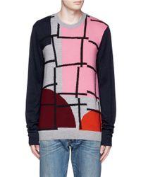 McQ - Multicolor Geometric Colourblock Intarsia Wool Sweater - Lyst
