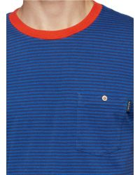 Paul Smith - Blue Contrast Neckline Stripe T-shirt for Men - Lyst