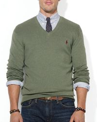 Ralph Lauren - Green Polo Pima Cotton V-Neck Sweater for Men - Lyst