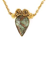 Leivan Kash   Metallic Rose Embellished Stone Necklace   Lyst