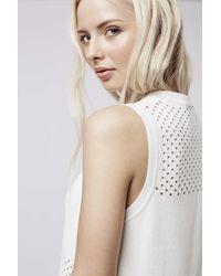 TOPSHOP | White Pointelle Panel Dress | Lyst