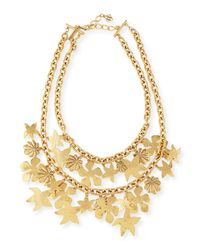Oscar de la Renta | Metallic Seashell Golden Chain Necklace | Lyst