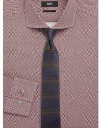 BOSS - Blue Herringbone Silk Tie for Men - Lyst