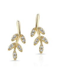 Anne Sisteron | Metallic 14kt Yellow Gold Diamond Branch Stud Earrings | Lyst