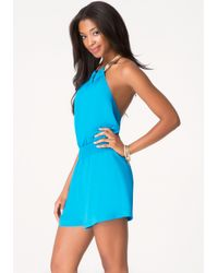 Bebe - Blue Necklace Halter Romper - Lyst