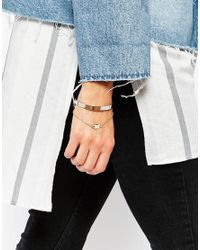 ASOS - Multicolor Mixed Metal Chain & Cube Cuff Bracelet - Lyst