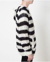 Saint Laurent - Black Hooded Striped Wool & Mohair Sweater for Men - Lyst