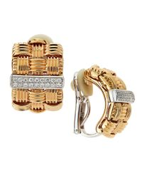 Roberto Coin | Metallic Diamondbar Basketweave Earrings | Lyst