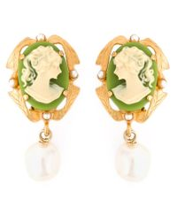 Dolce & Gabbana | Metallic Cameo Pearl Earrings | Lyst