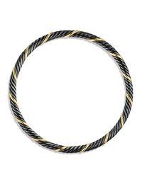 David Yurman - Black & Gold Cable Bangle - Lyst