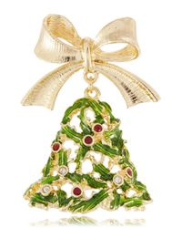 R.j. Graziano - Green Holiday Tree Bell Brooch - Lyst