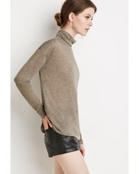 Forever 21 | Green Contemporary Marled Turtleneck Top | Lyst