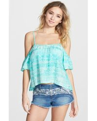 Rip Curl | Blue 'sand Dunes' Off The Shoulder Top | Lyst