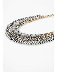 Mango - Metallic Bead Rhinestone Necklace - Lyst