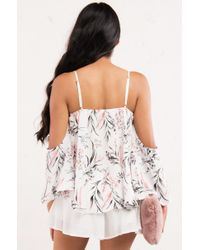 AKIRA | White Just Around The Riverbend Off Shoulder Top | Lyst
