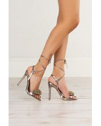 Akira - Multicolor Strap Up Sexy Embellishment Sandals - Lyst