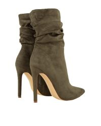 AKIRA - Green Off Duty Heeled Booties - Lyst